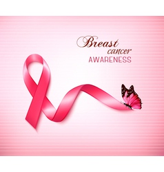 Background with Pink Breast Cancer Ribbon and vector image