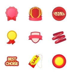 Badge icons set cartoon style vector image