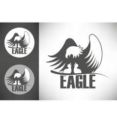 Bald eagle in the nest logo vector