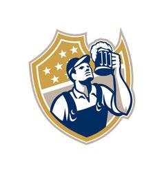 Barman Bartender Beer Mug Retro vector