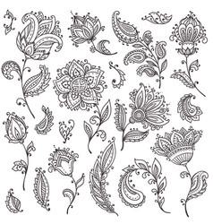 big set henna floral elements vector image