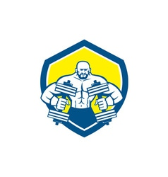Bodybuilder Lifting Dumbbell Shield Retro vector
