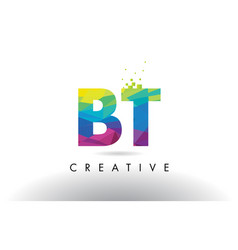 Bt b t colorful letter origami triangles design vector