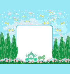 Carriage - abstract frame with beautiful landscape vector