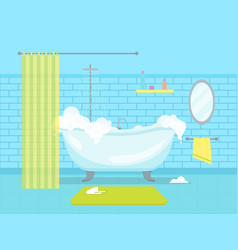 cartoon bathroom bathtub with foam card poster vector image