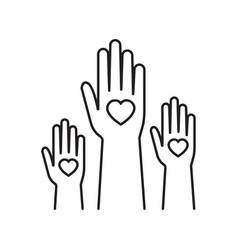 charity event hands raised heart in palm of vector image