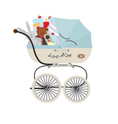 Child carriage with baby accessories vector