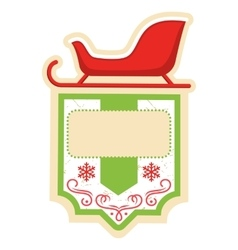 Christmas Label Icon Flat Frame with Sledge on vector image