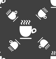 Coffee cup sign Seamless pattern on a gray vector