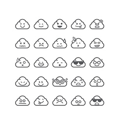 Collection of difference emoticon icon of cloud vector