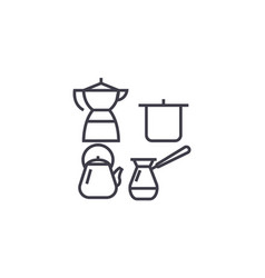 cooking utensils line icon sign vector image