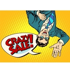 Crazy sale announcement man upside down vector