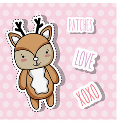 cute deer animal patch sticker vector image