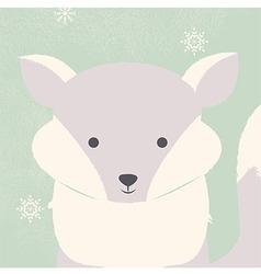 Cute polar white baby fox on green Christmas card vector image