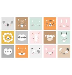 cute simple animal portraits - hare tiger bear vector image