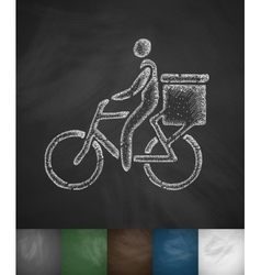 Delivery of goods by bicycle icon vector