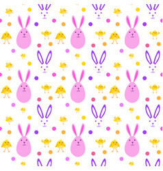 easter cute seamless pattern with yellow chicken vector image