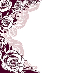 edge is decorated with flowers roses vector image