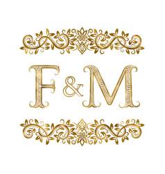 F and m vintage initials logo symbol vector