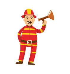 fireman in protection uniform loudspeaker vector image
