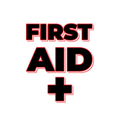 first aid lettering with sign isolated with white vector image