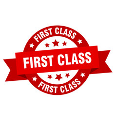 first class ribbon first class round red sign vector image