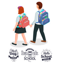 first day at school schoolfriends with backpacks vector image