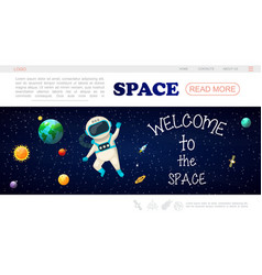 Flat solar system landing page template vector