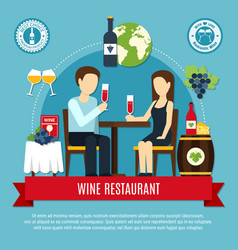 Flat wine restaurant vector