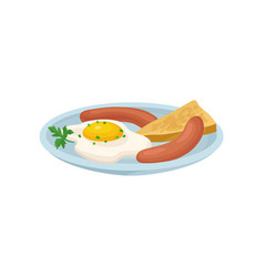 Fried egg with sausage and bread fresh nutritious vector