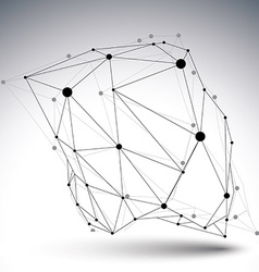 Geometric black and white polygonal structure with vector image