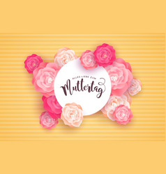 German mothers day card with pink rose flowers vector