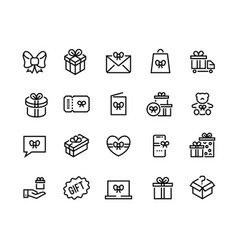 Gift line icons discount offer bonus reward vector