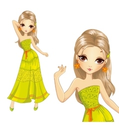 Girl In Summer Long Dress vector image