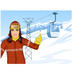 Girl on the background with cable-way vector