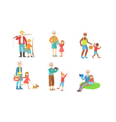 Grandparents spending time with grandchildren set vector