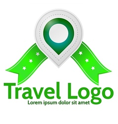 Green geolocation marker emblem for travel vector