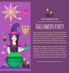 halloween witch letterhead template vector image