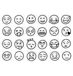 hand drawn outline style emoji icons vector image