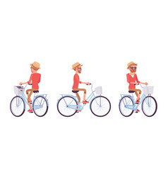 handsome middle age man riding a bike vector image