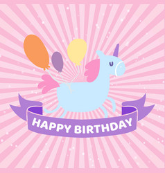 happy birthday card with cute unicorn banner and vector image