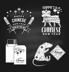 Happy chinese new year on chalkboard chinese vector