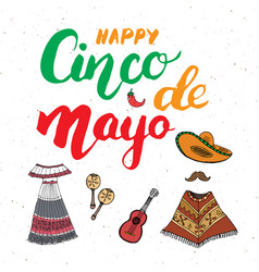 happy cinco de mayo greeting card hand lettering vector image