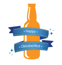 happy oktoberfest blue ribbon bottle beer backgrou vector image