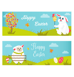 holiday bright banners with rabbits sheep eggs vector image