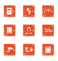instruction icons set grunge style vector image