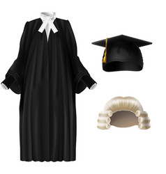 Judge and academic dressing realistic set vector