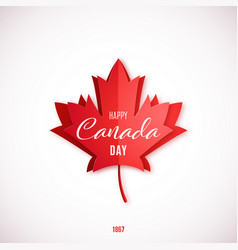july 1st happy canada day red paper cut maple vector image