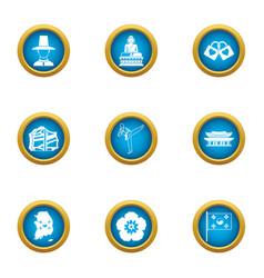Korean weekend icons set flat style vector