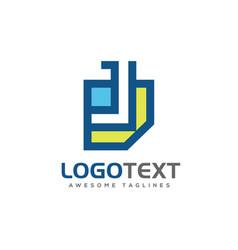 Letter j paper logo design vector